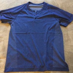Lululemon Short Sleeve Henley 4-way Stretch M Blue